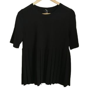 COS Black Oversized Classic Contemporary Minimalist Pleated T-Shirt Size XS NWT